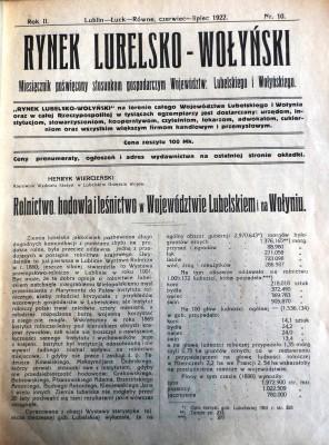 Rynek Lubelsko-Wołyński 1922 nr10