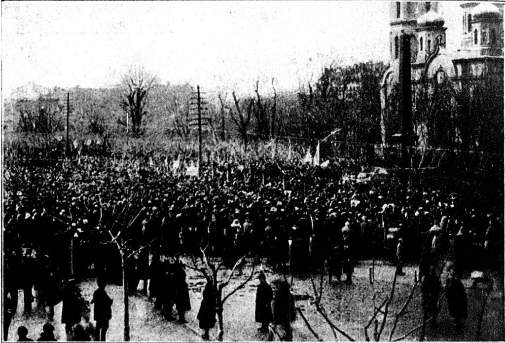 Pochód podpomnikiem Unii Lubelskiej.