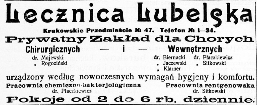 """Reklama Lecznicy Lubelskiej zwidocznym adresem Krakowskie Przedmieście 47. Rok 1913. Źródło: """"Ziemia Lubelska"""", 1913 nr282."""
