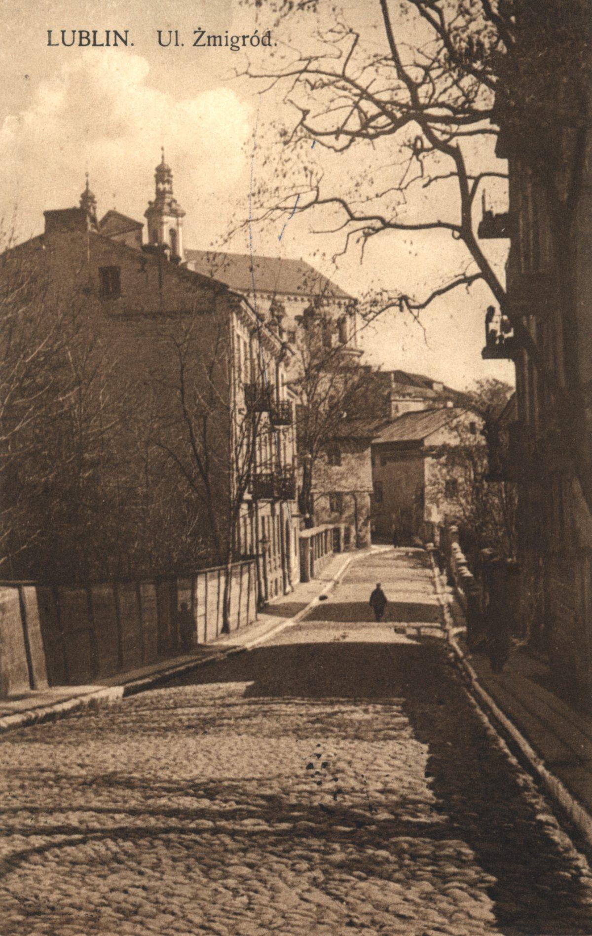 Ul. Żmigród, pocztówka z 1927 roku, Wyd. Skład Papieru B-cia Kestenberg, @WBP BC