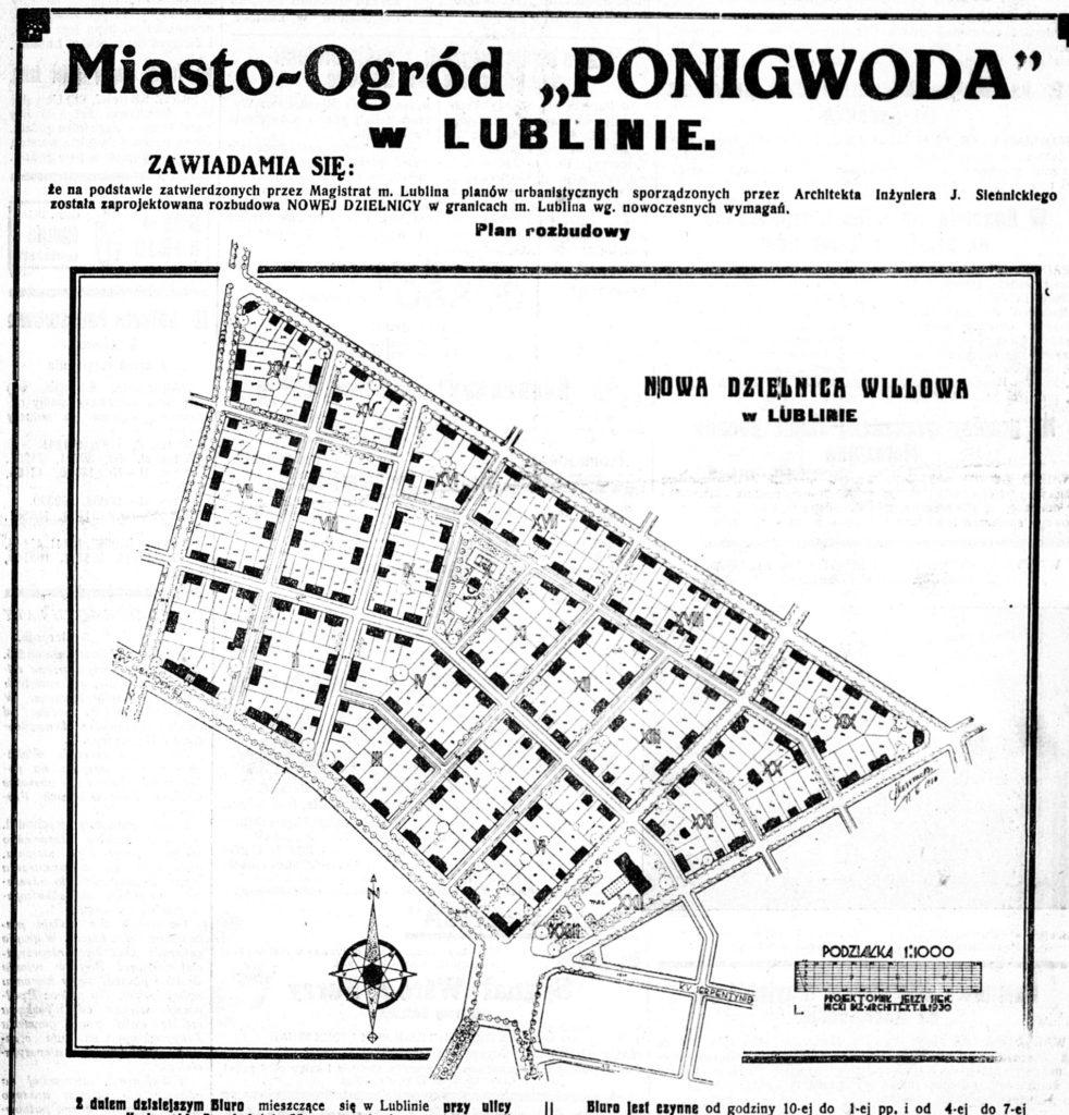 Ponikwoda mapa 1930